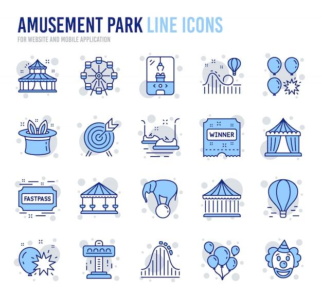 Ícones de linha de parque de diversões