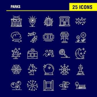 Ícones de linha de parques