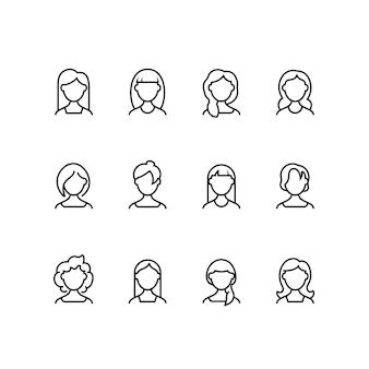 Ícones de linha de rosto de mulher