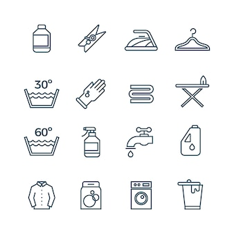 Ícones de linha de serviço de lavanderia e secadora limpa