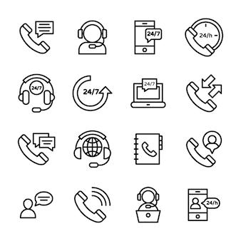 Ícones de linha de suporte ao cliente on-line