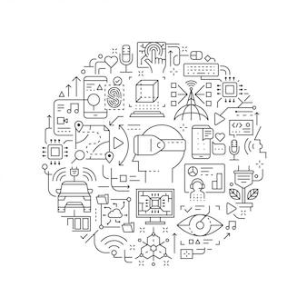 Ícones de linha de tecnologia do futuro em forma redonda isolado