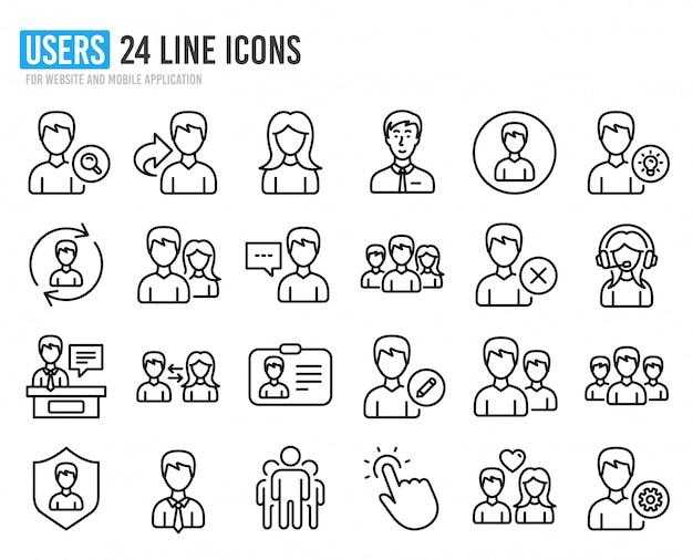 Ícones de linha de usuários. perfis masculinos e femininos.