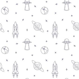 Ícones de linha de viagem espacial