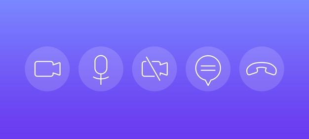 Ícones de linha de videochamada para interface, vetor