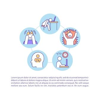Ícones de linha do conceito de sintoma de esgotamento com texto Vetor Premium