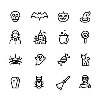 Ícones de linha do dia das bruxas