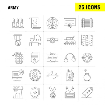 Ícones de linha do exército definido para infográficos, kit de ux / ui móvel