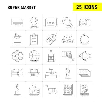 Ícones de linha do super mercado