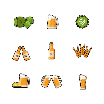 Ícones de linha do vetor cerveja isolados no fundo branco