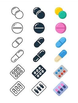 Ícones de linha e silhueta de comprimidos de drogas ilegais