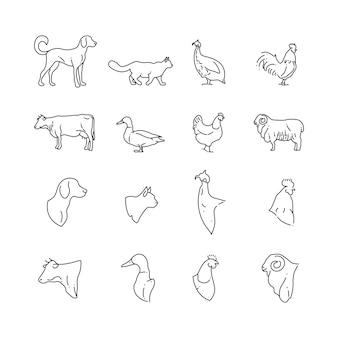 Ícones de linha fina de animais e aves de fazenda