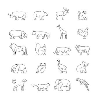 Ícones de linha fina de animais