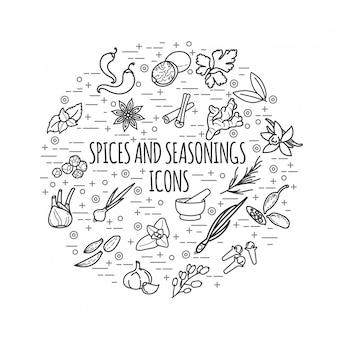 Ícones de linha fina de especiarias e condimentos. ilustração redonda