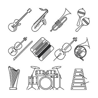 Ícones de linha fina de instrumentos musicais