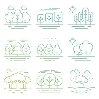 Ícones de linha fina de paisagem de floresta natureza brilhante isolados no branco