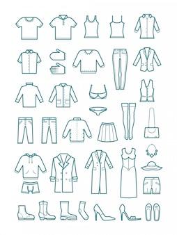 Ícones de linha fina de roupas para homens e mulheres