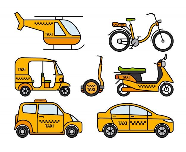 Ícones de linha fina de táxi