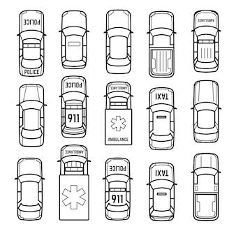 Ícones de linha fina de vista superior de carros