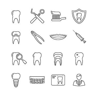Ícones de linha médica de odontologia de dentes