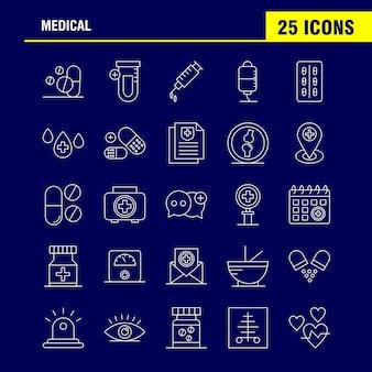 Ícones de linha médica