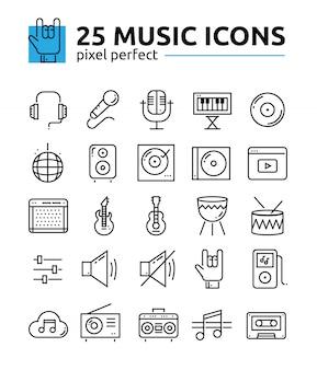 Ícones de linha perfeita de pixel de música