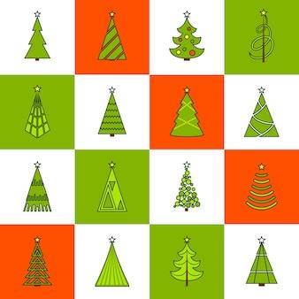 Ícones de linha plana de árvore de natal
