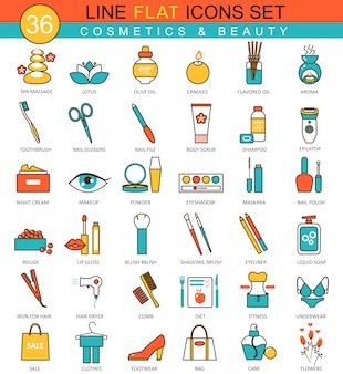 Ícones de linha plana de beleza e cosméticos