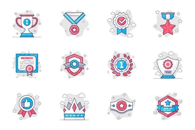 Ícones de linha plana de conceito de prêmio definem troféus para o vencedor de aplicativo móvel