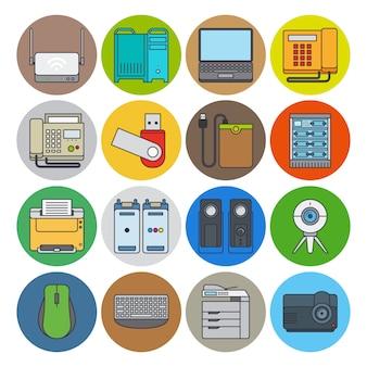 Ícones de linha plana de dispositivos eletrônicos