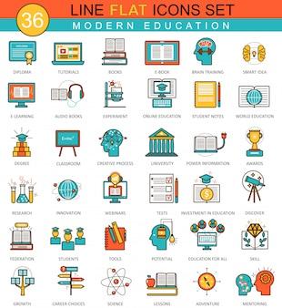 Ícones de linha plana de educação on-line moderno