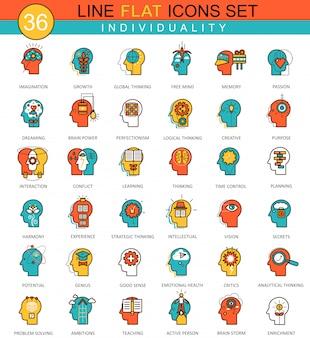 Ícones de linha plana de individualidade de personalidade de mentalidade humana