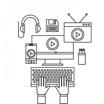 Ícones de linha plana de marketing de vídeo