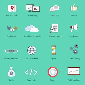 Ícones de linha plana de marketing seo conjunto com lugares contato monitoramento mensagem escolha isolado ilustração vetorial