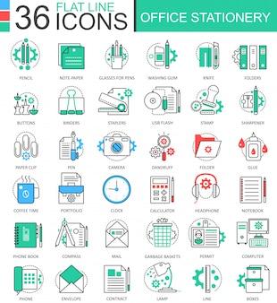 Ícones de linha plana de papelaria de escritório