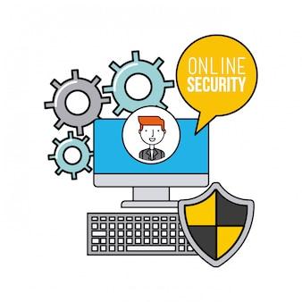 Ícones de linha plana de segurança on-line