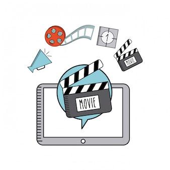 Ícones de linha plana on-line de filme