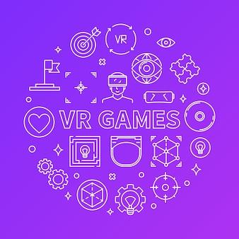 Ícones de linha redonda de jogos de vr