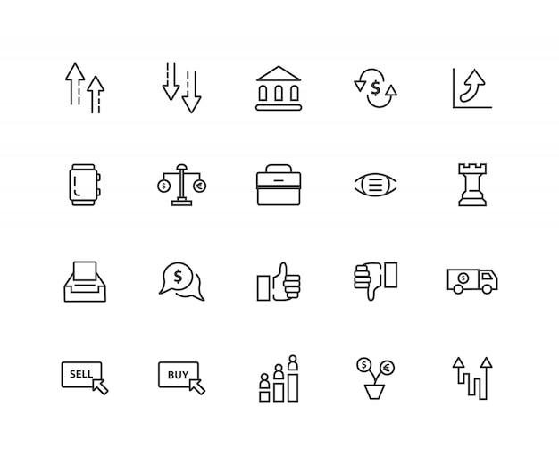 Ícones de linha relacionada de cotações de ações