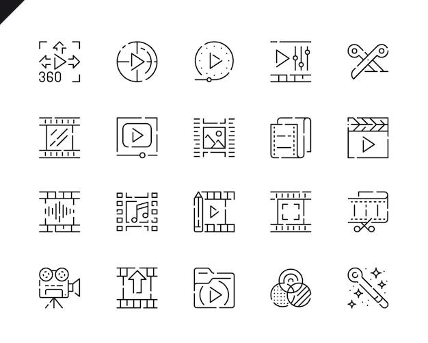 Ícones de linha simples de edição de vídeo