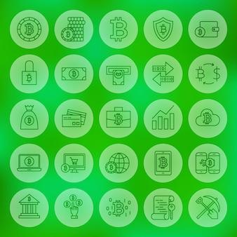 Ícones de linha web bitcoin. ilustração em vetor de símbolos de criptomoeda de contorno sobre fundo desfocado.