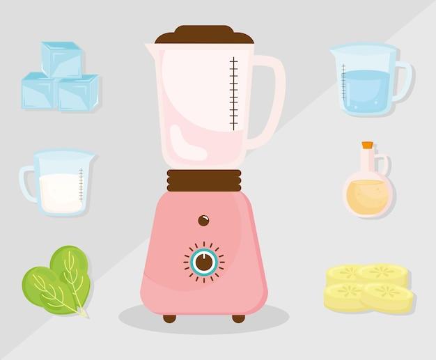Ícones de liquidificador e smoothie de ingredientes