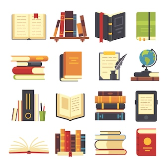 Ícones de livros planas