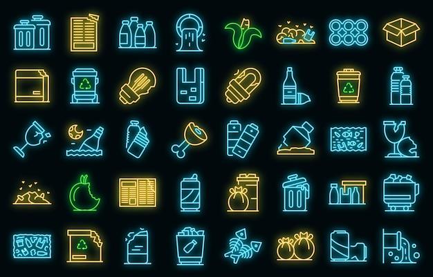 Ícones de lixo definem néon vetorial