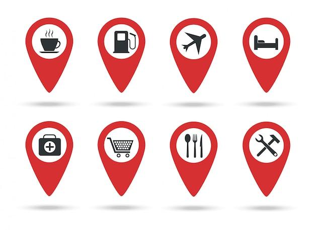 Ícones de locais. uma coleção de marcadores de mapa com marcas de serviço.