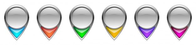 Ícones de localização pin. ícone de navegação ponteiro de mapa