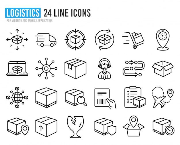 Ícones de logística e transporte. lista de verificação de entrega.