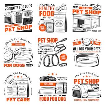 Ícones de loja de animais com suprimentos de cuidados de cachorro, comida de animal