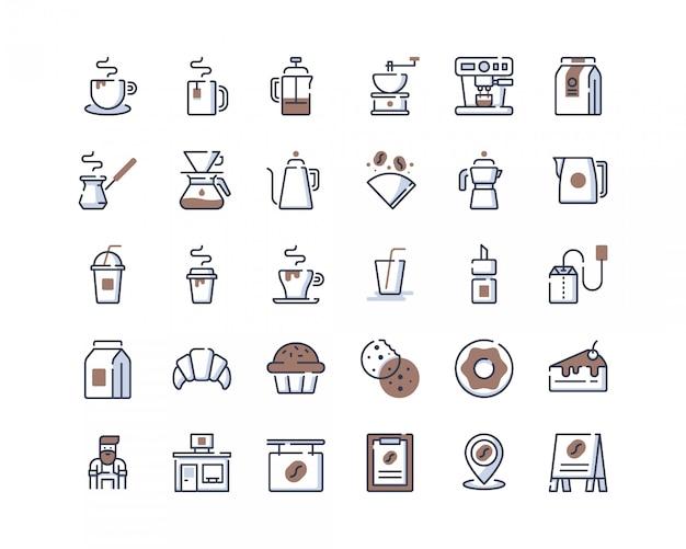 Ícones de loja de café de linha de cor