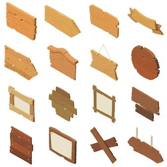 Ícones de madeira da estrada do letreiro ajustados. ilustração isométrica de 16 ícones de vetor de madeira de estrada de sinalização para web